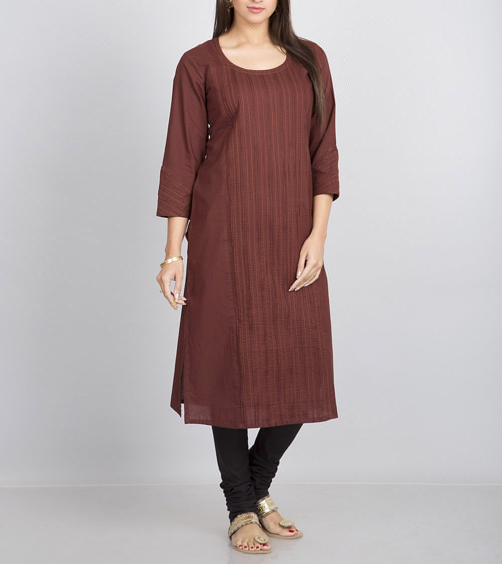 Cotton Cambric Front Pintuck Detail Long Kurta For Girls