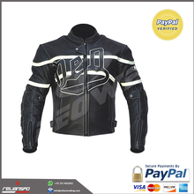 MOTORCYCLE RIDING ARMOR BIKER LEATHER JACKET BLACK