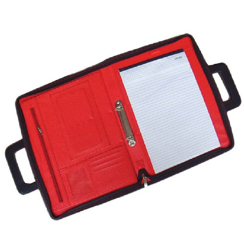 Portfolio Padfolio With Zipper Closure 2 Ring Binder With Handle Letter Sized Writing Pad Leather Red