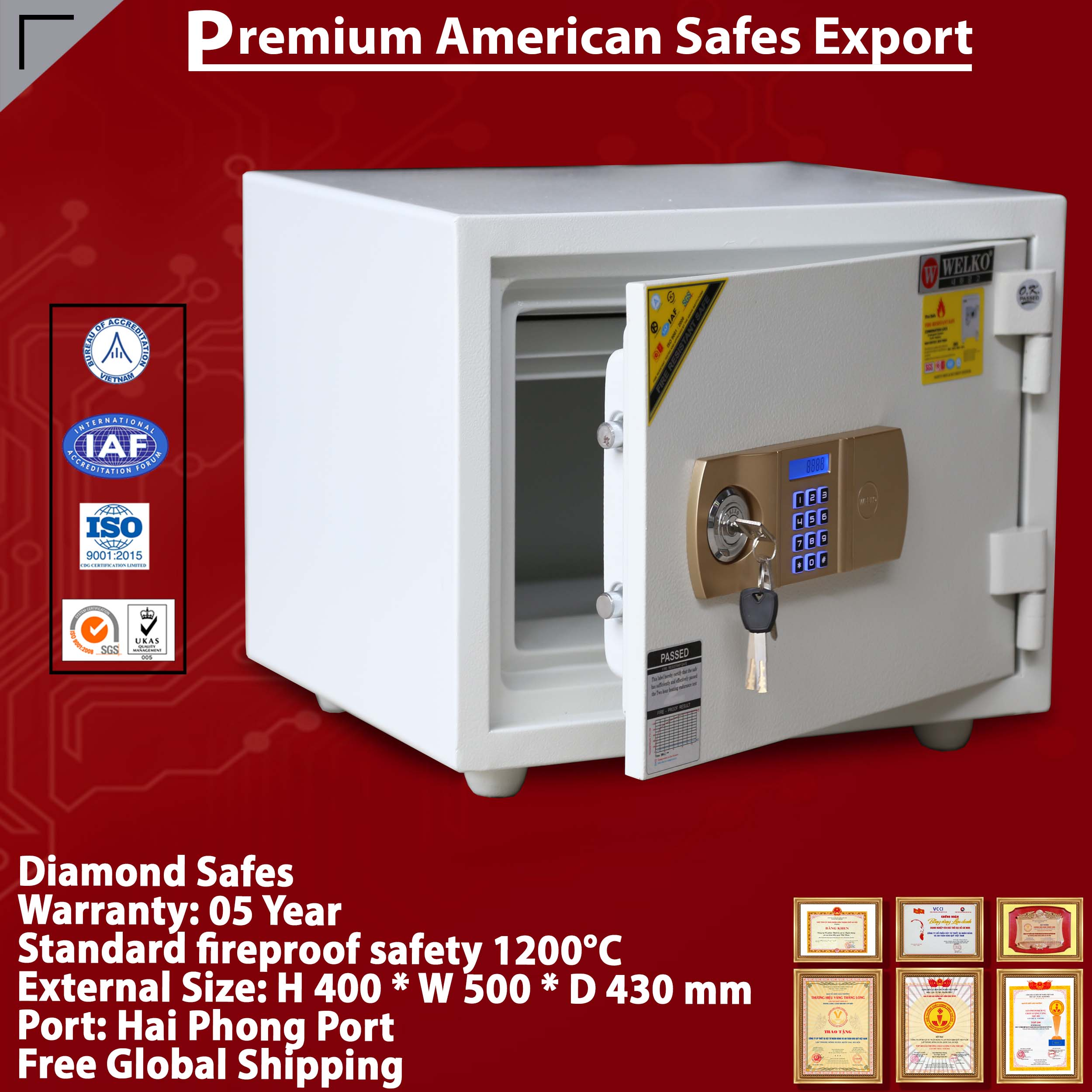 Diamond Safe KS80N Gold EVN White