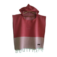 Hooded Pestemal Turkish Towel Beach Pool Poncho for All sizes Cotton castle Red