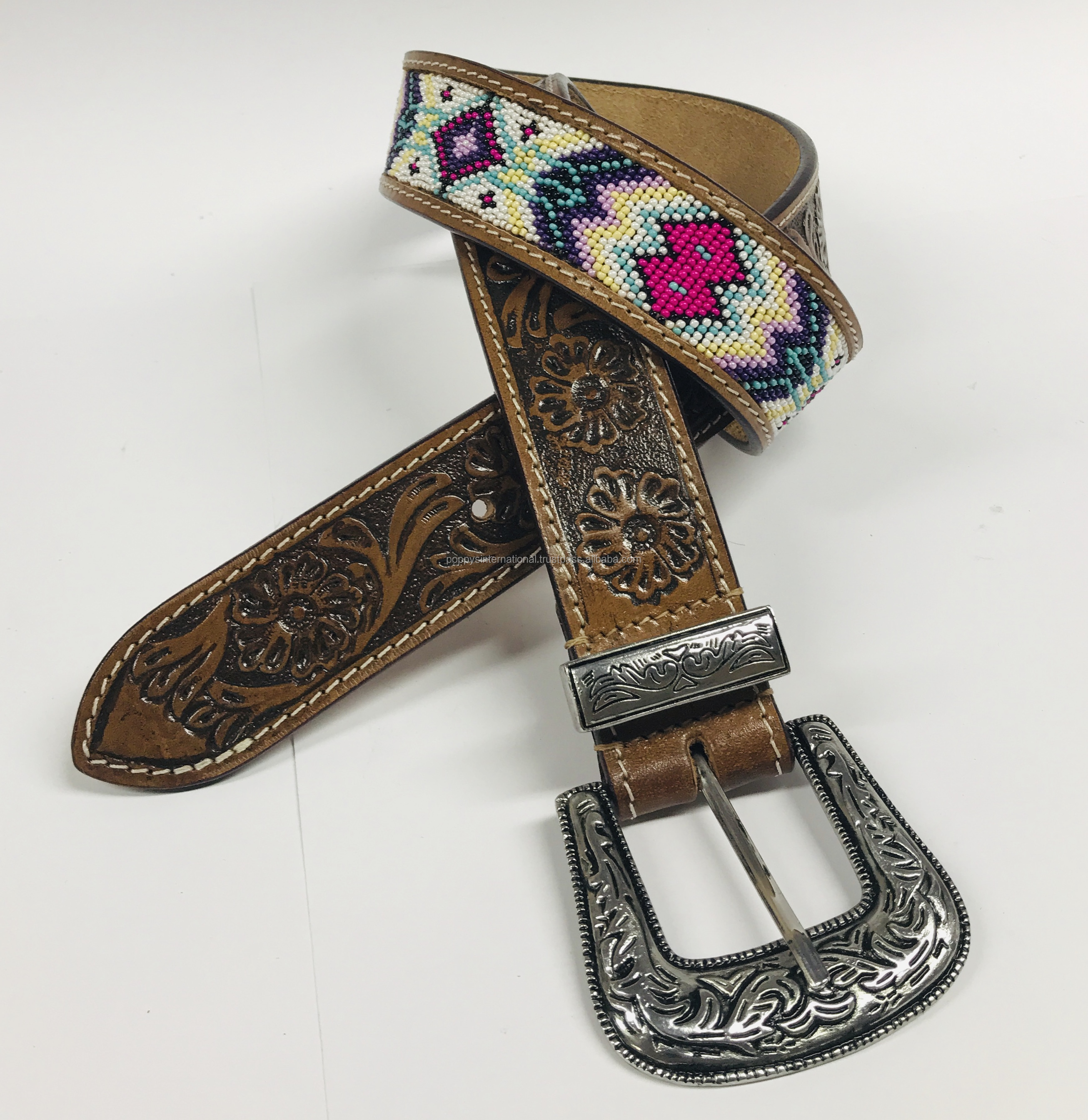 CROSS DESIGN HAND MADE COLOURED BEADED LEATHER BELT WITH HAND CARVED TOOLED DESIGN.