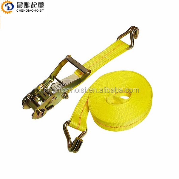 "2"" X 27ft  50mm 3300 lbs  10000 lbs Cargo Lashing Strap ratchet tie downs  with double J hook"