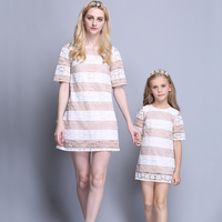 Wholesale short sleeves straight style striped pattern pink parent child matching clothes