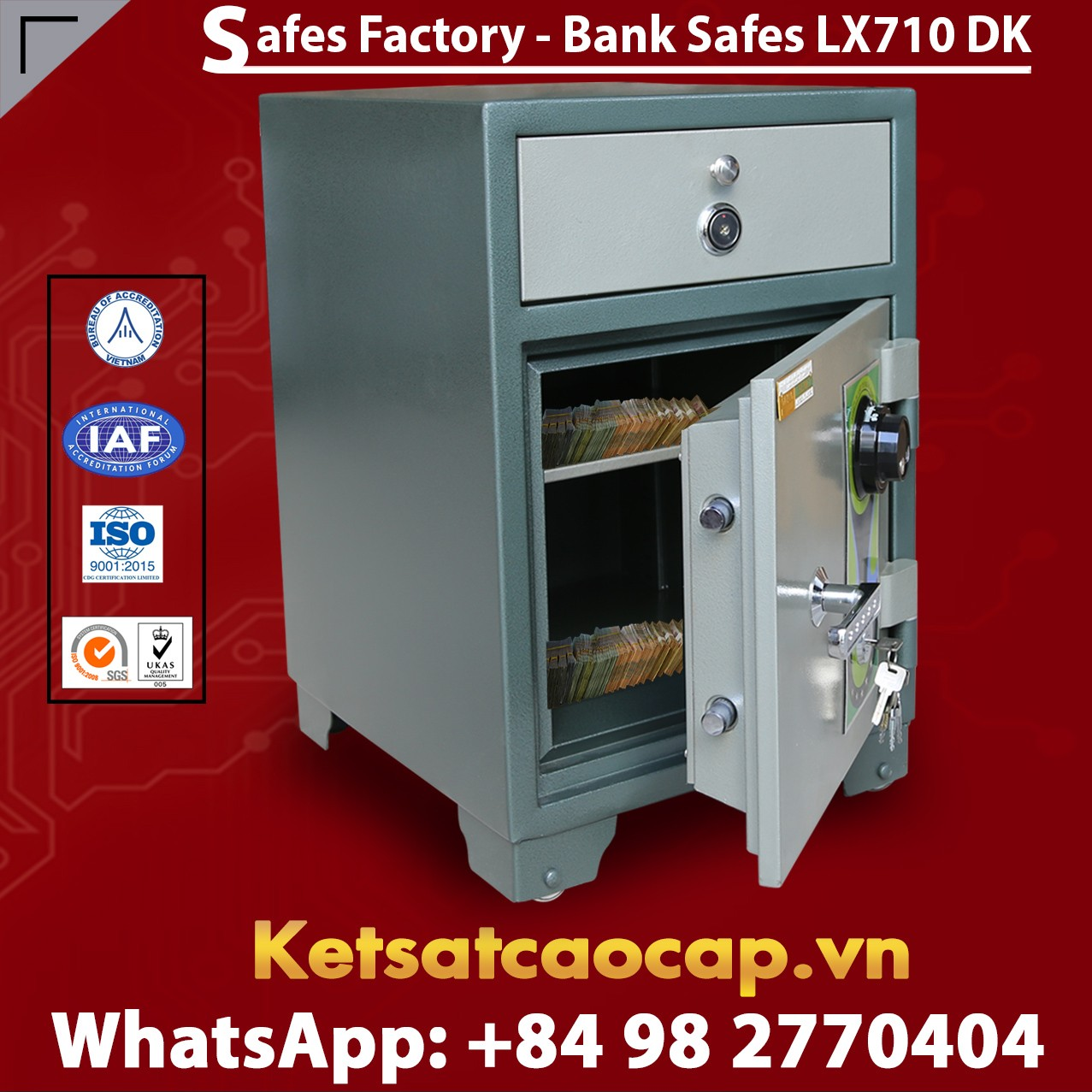 Bank Safes LX710 DK Security Cash Locker Depository Safe Deposit Box