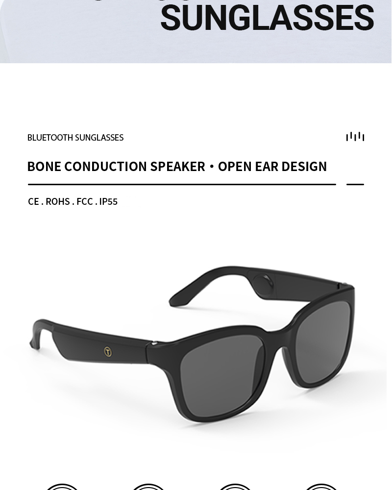 Bone Conduction Speaker Open Ear Sports Polarized Frame Wireless Smart Stereo Sound Audio Music Bluetooth Glasses