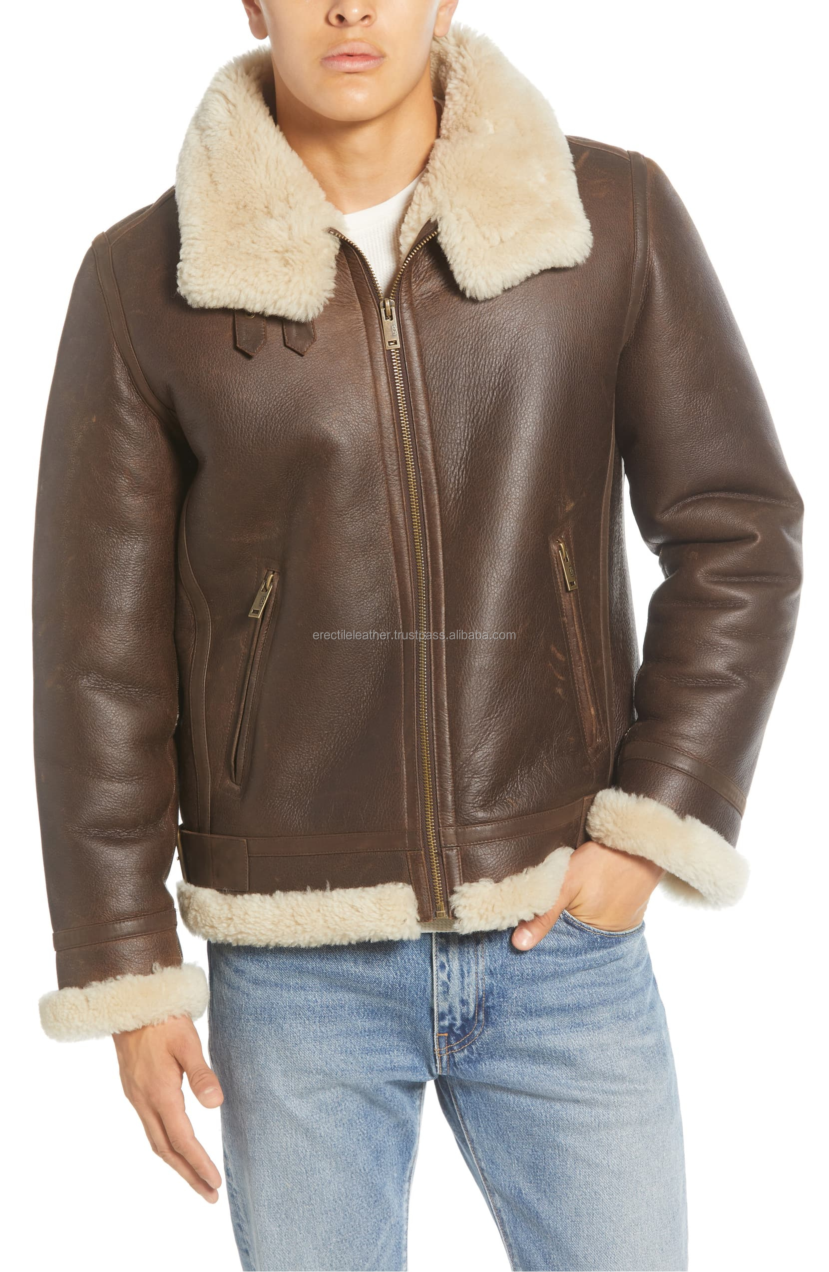 Men's Auden Genuine Shearling Trim Leather Aviator Jacket Brown With Customized Size - Wholesale Price