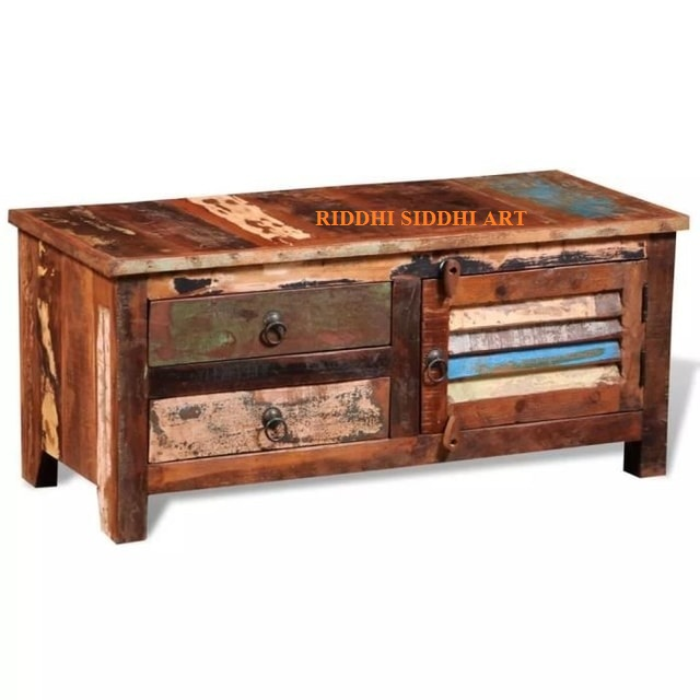 Handmade TV furniture Solid reclaimed wood 90 x 38 x 40 cm Home Living Room Attractive Reclaimed Hotel Furniture