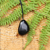 Tumbled Shungite Pendant, Natural Stone Jewelry Accessory for Protection, Authentic Shungite from Karelia Russia