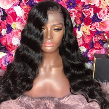 Long Black 180% Density Brown Lace Brazilian Human Hair Deep Wave Lace Front Wig With Baby Hair