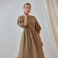 Linen Puff casual dress western style trend 2020 fashion summer clothing women clothes dresses made in South Korea