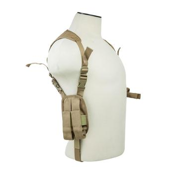 Horizontal Shoulder Holster/Double Magazine Holder/Tan