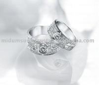 14k white gold ladies diamond couple rings