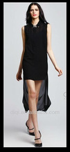 latest design chiffon sleeveless dress with fashion irregular bottom in 2013