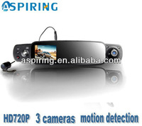 Bluetooth car rear view mirror with car dvr