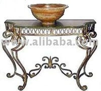 Wrought Iron Mediterranean Console Table, Egyptian Stone Top