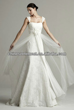 Simple High Quality Spaghetti Lace&Tulle Wedding Gown Dress 2013