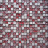 Red and White Ice Crackle Square Glass Mix Stone Mosaic Tile