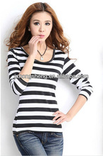2013 best-selling ladies classic style long sleeve black white striped t shirts