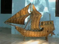 miniature sailing ship of matchsticks