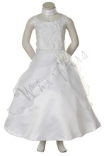 586 White Girl Formal wear Flower Girl National Pageant Easter Wedding Party Prom Special Occasion Embroidery Dress 4-16