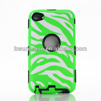 Hot PC Silicone Robot combo Green/white Zebra Strong Protective Phone Case for Apple Ipod touch 4G