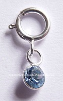 Nail piercing nail dangle 925 sterling silver / light blue