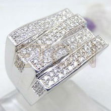 Special valuble high grade zircon mens silver finger rings four lines shining stone