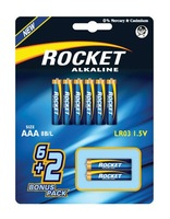 LR03, AAA size, 6+2 Blister packing, Alkaline