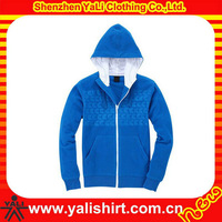 Winter custom mens zipper front hooded windstopper polar fleece jacket with elastic cuff