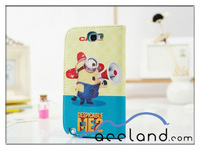 Funny Despicable Me 2 Cases With Card Slots PU Leather Protective Cover cartoon case for samsung galaxy note II N7100