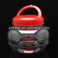 3400ml cheap round clear plastic crunchy candy jars for sale with hand lift lid