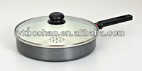 Ceramic dry frying pan / dry cooker with glass lid / cover