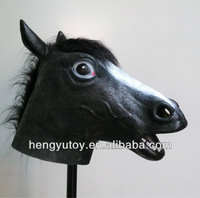 top selling full head like latex king crown cap mask pretty vivid realistic Black horse head mask for Brazil world cup