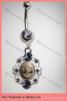 14 Gauge White Cameo Dangle Banana navel rings body piercing jewelry rings in stainless steel