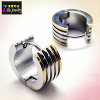 (E4566) Hot sale two tone grooved stainless steel earing jewellery