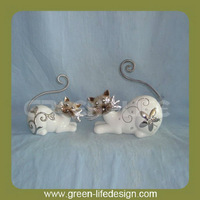 Beautiful white antique ceramic cats