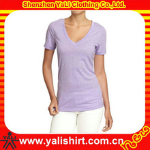 wholesale custom high quality v neck lose feeling soft custom made cheap blank t-shirt for ladies