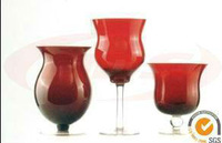 Red Glass Tube Candle Holder Sale