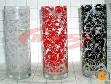 Tall cheap colored glass vases with decal