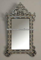 Antique Syrian Mother of Pearl Wood Mirror Frame
