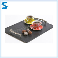 Natural healthy fashion style unique slate serving tray with stainless steel handles