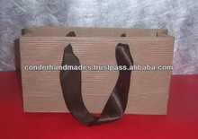 Ribbed Kraft Paper Bags with Ribbon Handles for Packaging, Promotion, and Shopping,