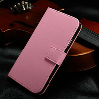 Excellent quality hot pink wallet case for note 3 , smooth leather cell phone cover for note3
