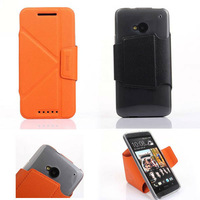 transformer leather for htc one m7 flip stand case