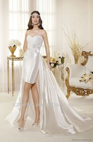 CY834 Sexy Ivory A line Sweetheart Court train Appliques elastic satin short wedding dresses long tail