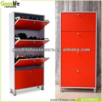 orange color shoe cabinets with doors