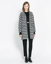Hot sale russian fashion style midi pattern loose soft dog tooth design women witner coat