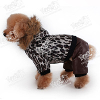 Leopard Print Luxurious Fur Dog Winter Clothing, Pet Jacket with Hat, Porpular in Europe