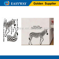 WS-231 Promotional animal zebra decor removable wall art sticker for room/PVC and vinyl material wall art sticker